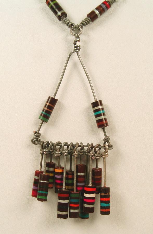 Pendant made of resistors.