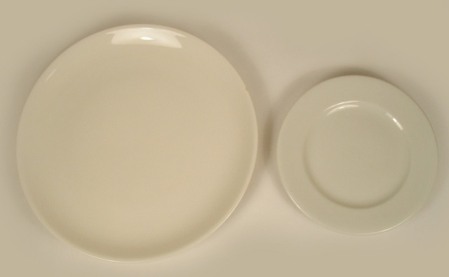 Photo of 2 different sizes of round diner china.