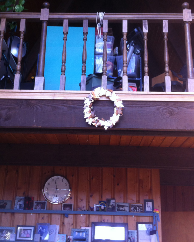 Photo showing wreath hanging from my loft