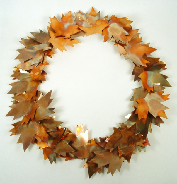 Wreath of copper leaves