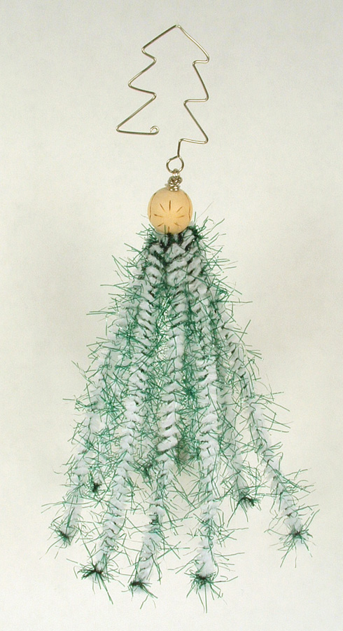 Christmas tree ornament made of chenille pipe cleaners.