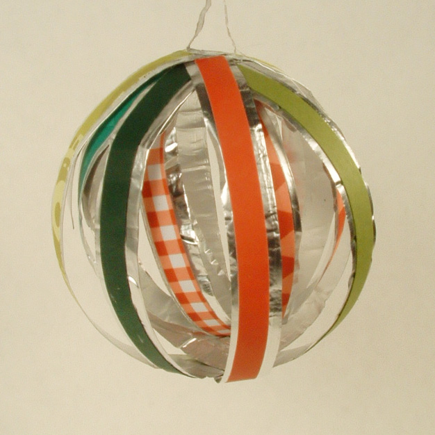 Paper and aluminum foil Christmas ornament.
