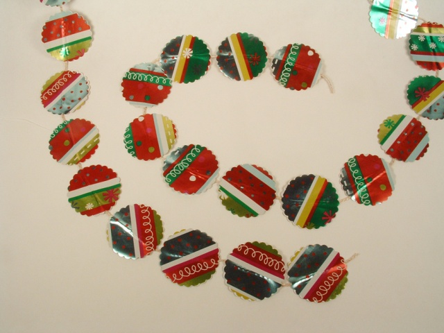 Christmas Garland made of wrapping paper.