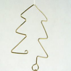 Ornament hook made of wire to look like a Christmas tree.
