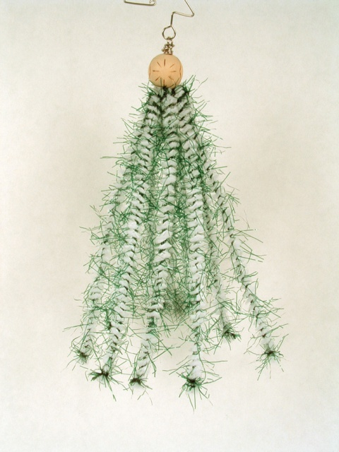 Christmas tree ornament made of pipe cleaners.