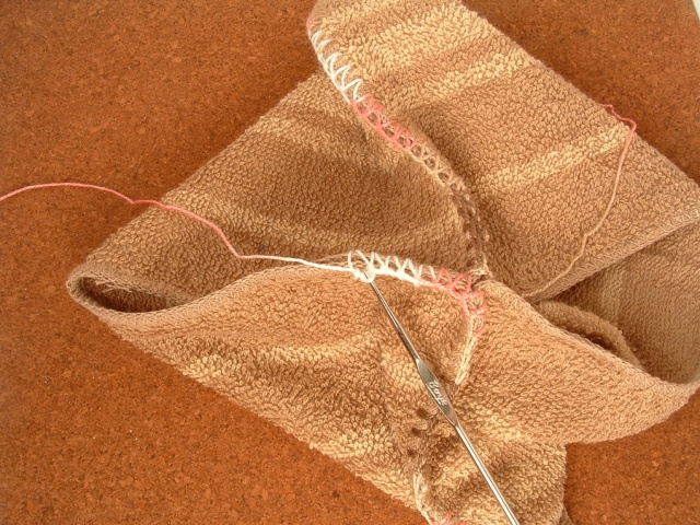 Start of second round of single crochet stitches