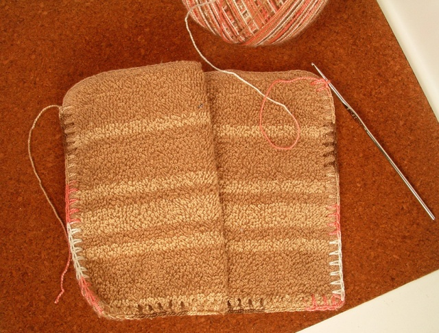 Single crochet around three sides.