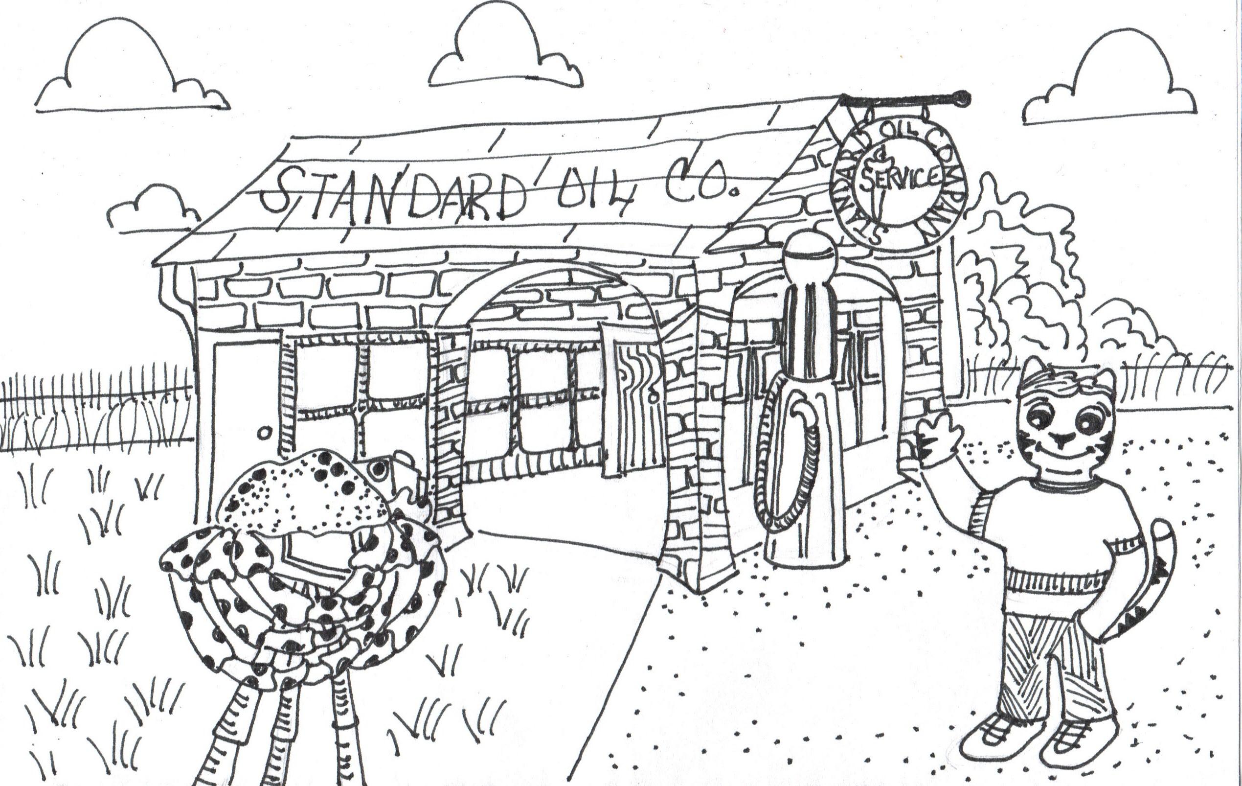 draw cartoon gas station