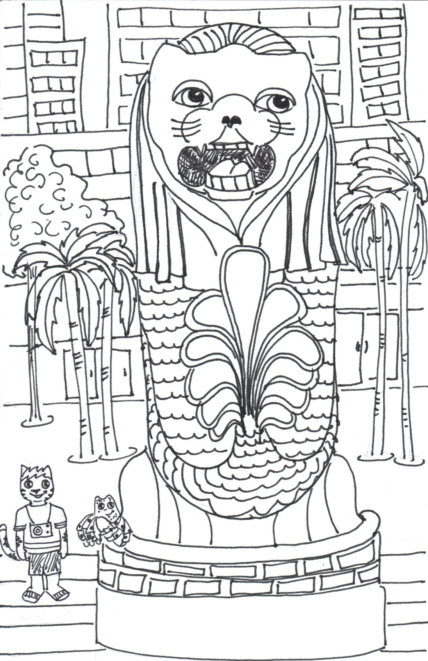 Colouring book for adults singapore - This Is A Merlion Statue At The Merlion Park In Singapore A Merlion Is A Half Lion And Half Mermaid It Is A Little Hard To Tell