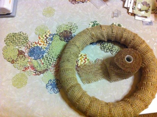 Burlap wrapped foam wreath