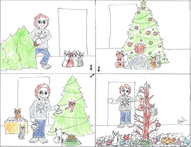 catoon christmas tree