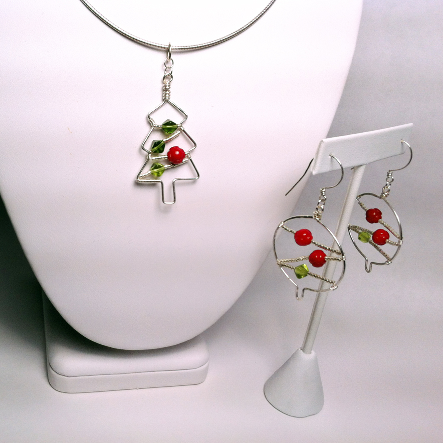 Christmas advent tree pendant and christmas ball earrings for Sterling silver christmas jewelry