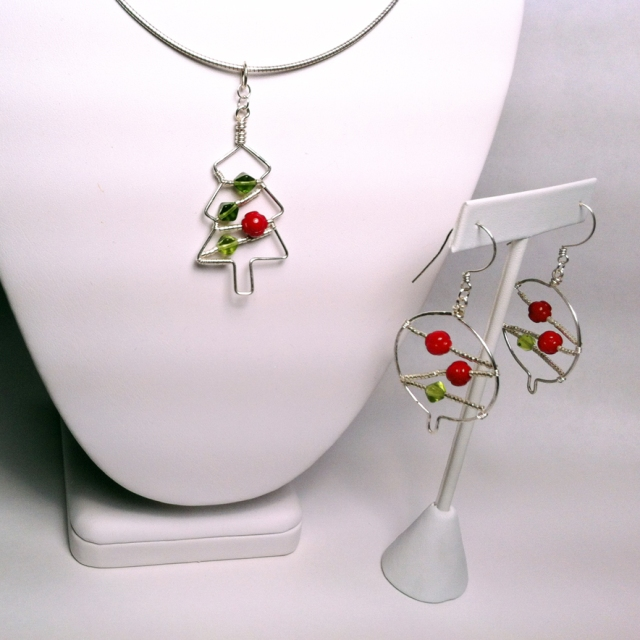 Pic of tree pendant and Christmas ball earrings