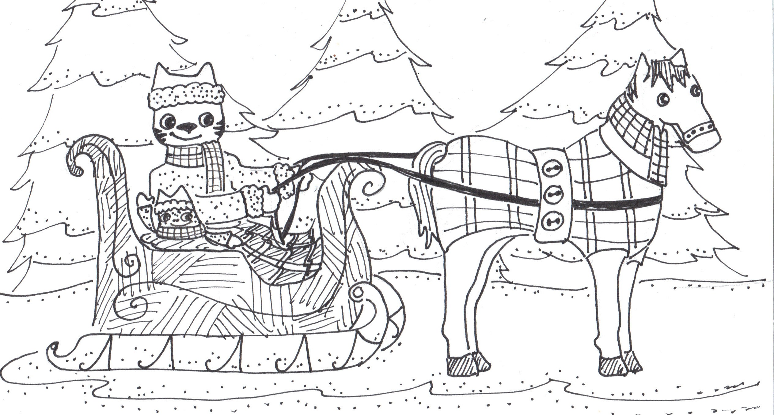 Coloring page one horse open sleigh - One Horse Open Sleigh