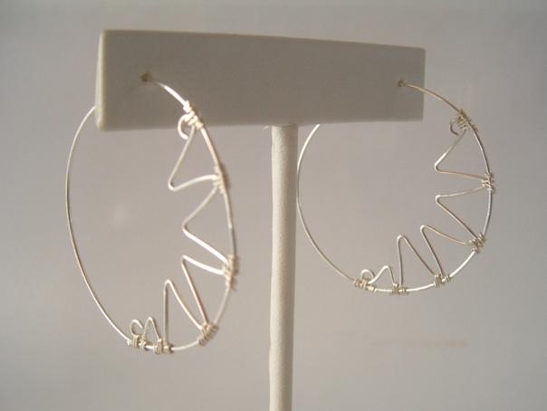 sterling silver zigzag hoop earrings