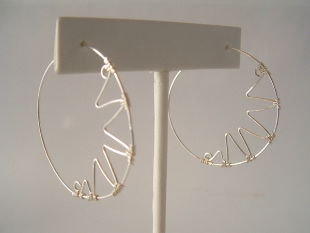 sterling silver zigzag hoop earrings