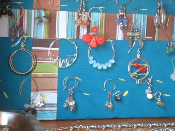 close up of earring display