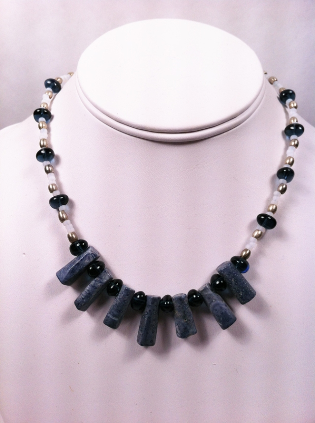 Blue Coral and Glass Necklace