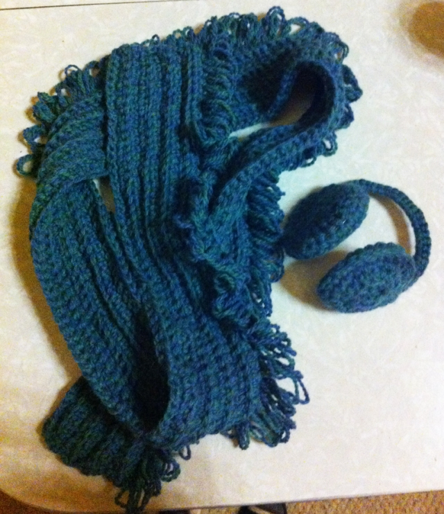 Matching set of earmuffs and scarf.
