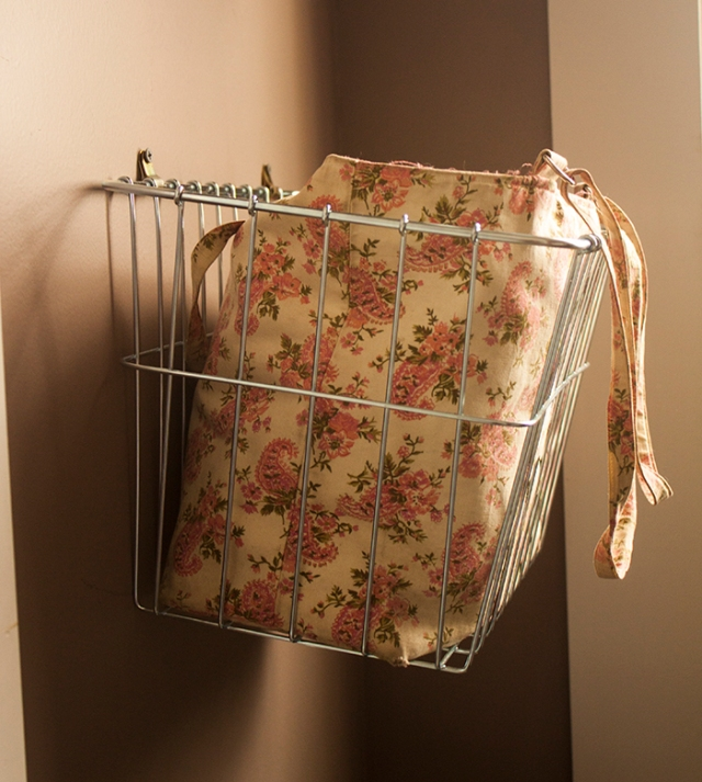 wall-mounted bicycle basket