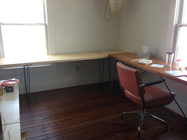 new desk and antique table