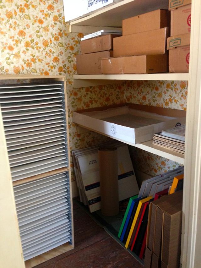 pastel storage with shelf system