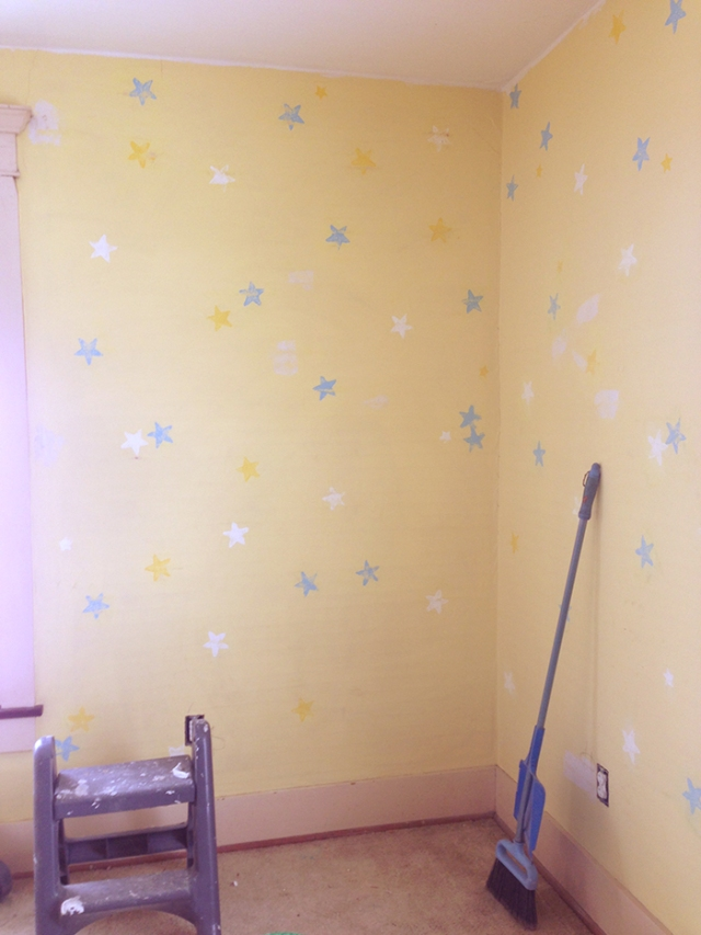 walls with sanded stencil design