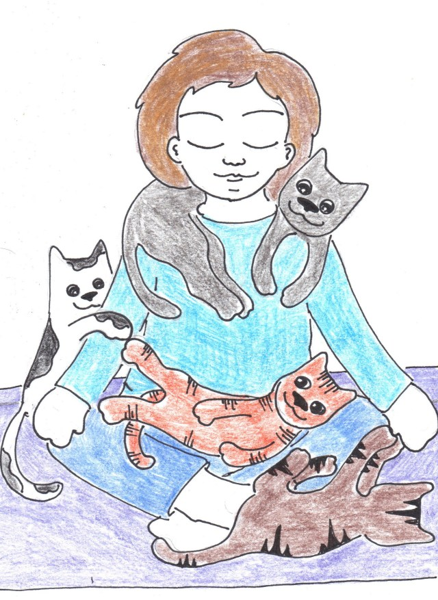 Sunday catoon yoga and cats