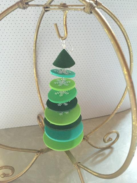 Green foam tree ornament.