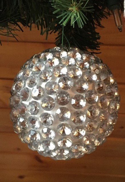 finished rhinestone covered ornament