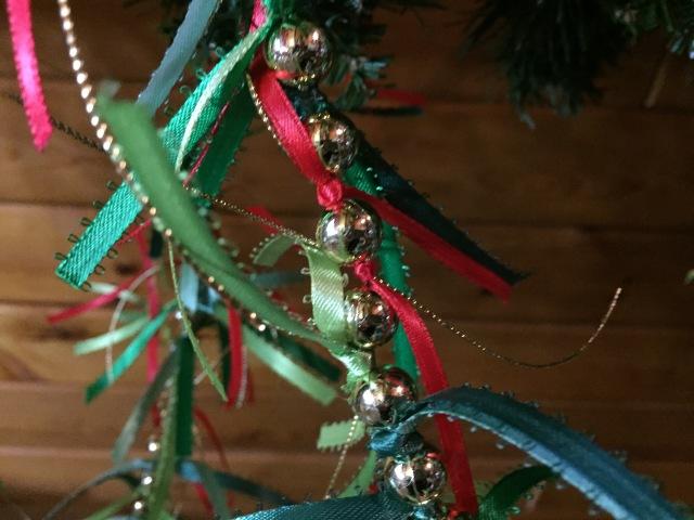 Close up of ribbon garland