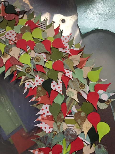Red and green wreath almost completed.