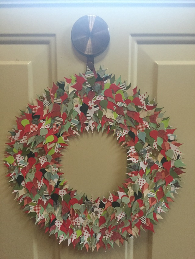 Red wreath, completed and hung on my door.