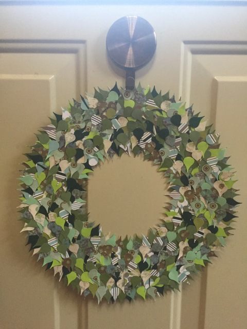 Green wreath, completed and hung on my door.