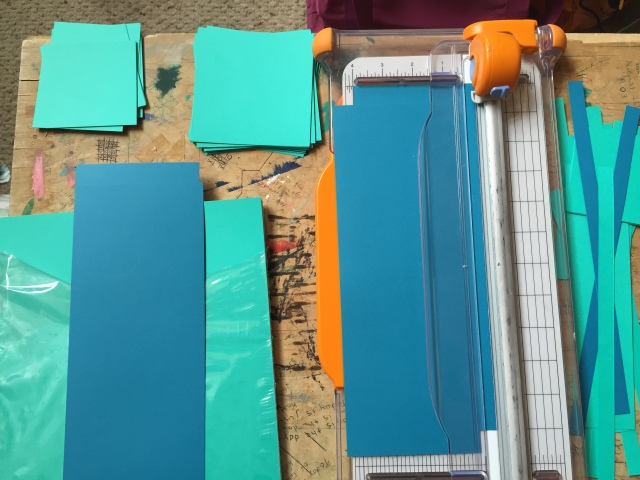 cutting scrapbook paper into squares